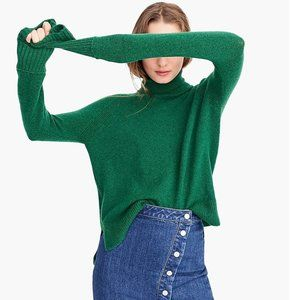 Turtleneck Sweater With Side Slits Supersoft Yarn